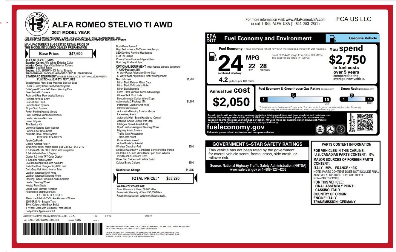 New 2021 Alfa Romeo Stelvio Ti for sale Sold at Bugatti of Greenwich in Greenwich CT 06830 1