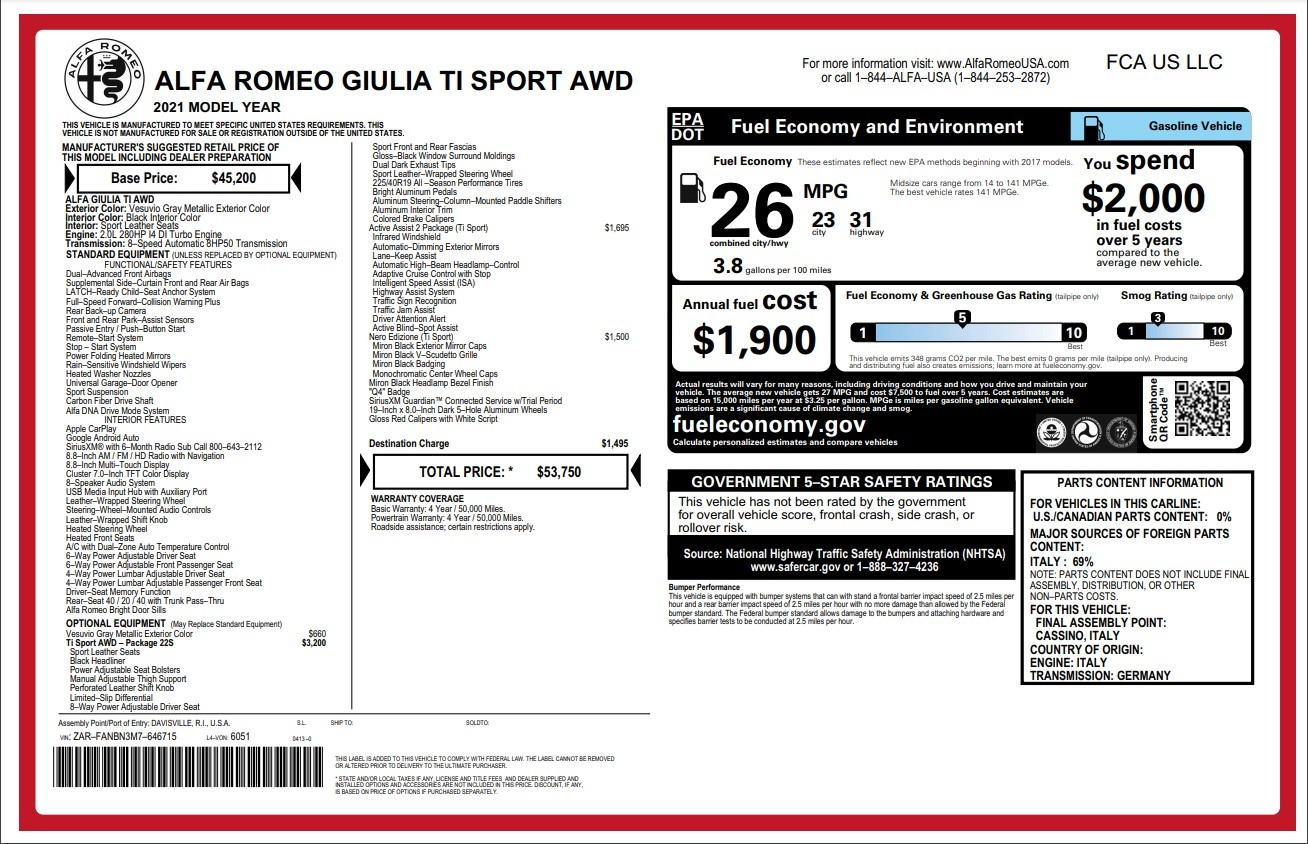 New 2021 Alfa Romeo Giulia Ti Sport for sale $53,750 at Bugatti of Greenwich in Greenwich CT 06830 1