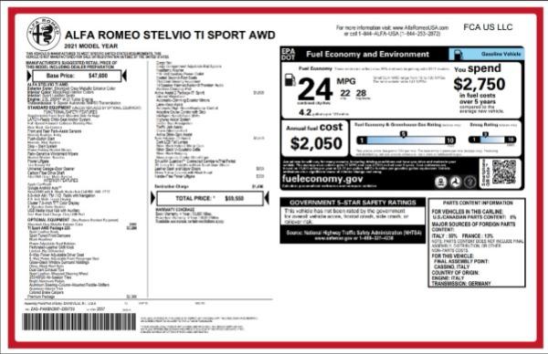 New 2021 Alfa Romeo Stelvio Ti Sport for sale $59,550 at Bugatti of Greenwich in Greenwich CT 06830 2
