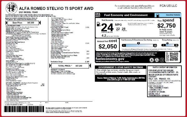 New 2021 Alfa Romeo Stelvio Ti Sport Q4 for sale $57,200 at Bugatti of Greenwich in Greenwich CT 06830 28