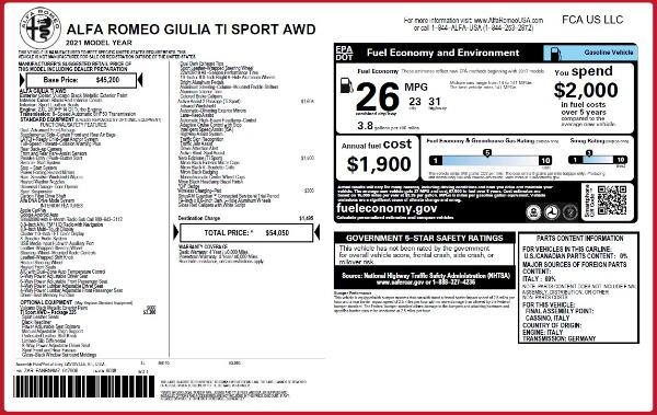 New 2021 Alfa Romeo Giulia Ti Sport Q4 for sale $54,050 at Bugatti of Greenwich in Greenwich CT 06830 25