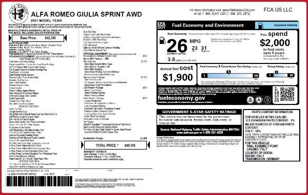 New 2021 Alfa Romeo Giulia Q4 for sale $49,195 at Bugatti of Greenwich in Greenwich CT 06830 2