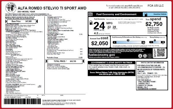 New 2021 Alfa Romeo Stelvio Ti Sport Q4 for sale $55,700 at Bugatti of Greenwich in Greenwich CT 06830 27