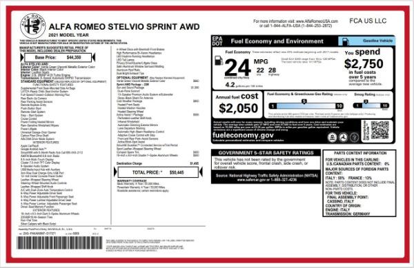 New 2021 Alfa Romeo Stelvio Q4 for sale $50,445 at Bugatti of Greenwich in Greenwich CT 06830 22