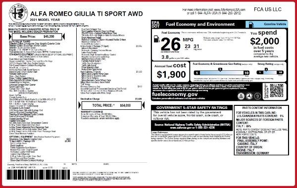 New 2021 Alfa Romeo Giulia Ti Sport Q4 for sale $54,050 at Bugatti of Greenwich in Greenwich CT 06830 2