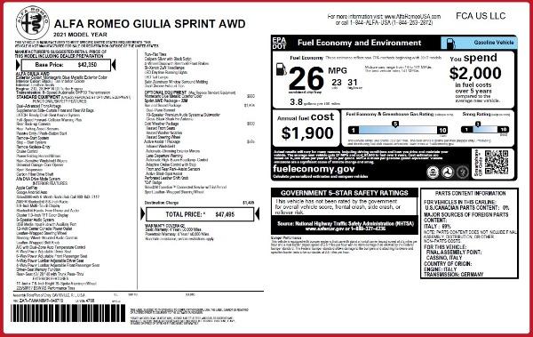 New 2021 Alfa Romeo Giulia Q4 for sale Sold at Bugatti of Greenwich in Greenwich CT 06830 23