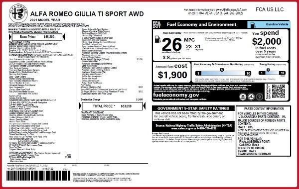 New 2021 Alfa Romeo Giulia Ti Sport Q4 for sale $53,050 at Bugatti of Greenwich in Greenwich CT 06830 22