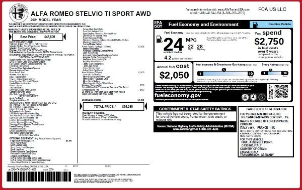 New 2021 Alfa Romeo Stelvio Ti Sport Q4 for sale $56,240 at Bugatti of Greenwich in Greenwich CT 06830 2