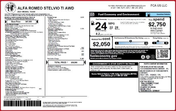 New 2021 Alfa Romeo Stelvio Ti Q4 for sale $56,800 at Bugatti of Greenwich in Greenwich CT 06830 2