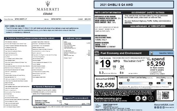 New 2021 Maserati Ghibli S Q4 for sale $89,775 at Bugatti of Greenwich in Greenwich CT 06830 2