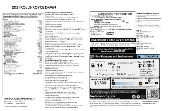 New 2021 Rolls-Royce Dawn for sale Call for price at Bugatti of Greenwich in Greenwich CT 06830 9