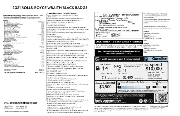 New 2021 Rolls-Royce Wraith Black Badge for sale Call for price at Bugatti of Greenwich in Greenwich CT 06830 9