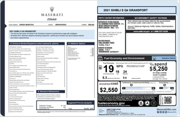 New 2021 Maserati Ghibli S Q4 GranSport for sale $100,635 at Bugatti of Greenwich in Greenwich CT 06830 20