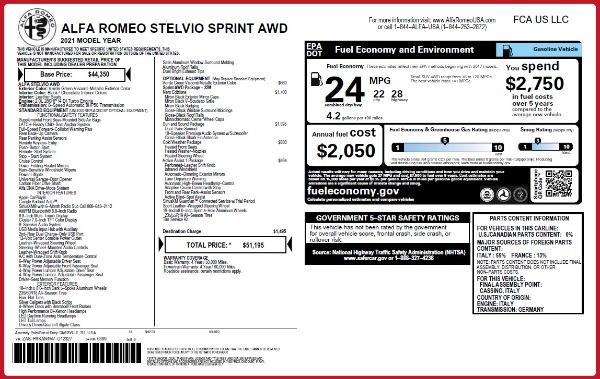 New 2021 Alfa Romeo Stelvio Q4 for sale $51,195 at Bugatti of Greenwich in Greenwich CT 06830 2