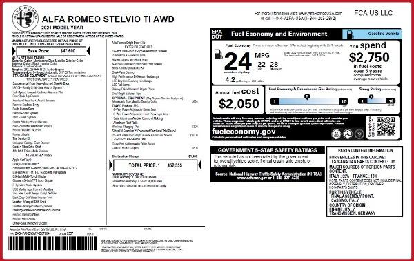 New 2021 Alfa Romeo Stelvio Ti Q4 for sale $52,555 at Bugatti of Greenwich in Greenwich CT 06830 2