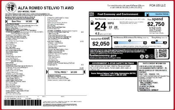 New 2021 Alfa Romeo Stelvio Ti Q4 for sale $51,900 at Bugatti of Greenwich in Greenwich CT 06830 2
