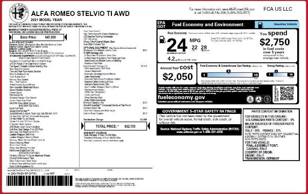 New 2021 Alfa Romeo Stelvio Ti Q4 for sale $52,700 at Bugatti of Greenwich in Greenwich CT 06830 2