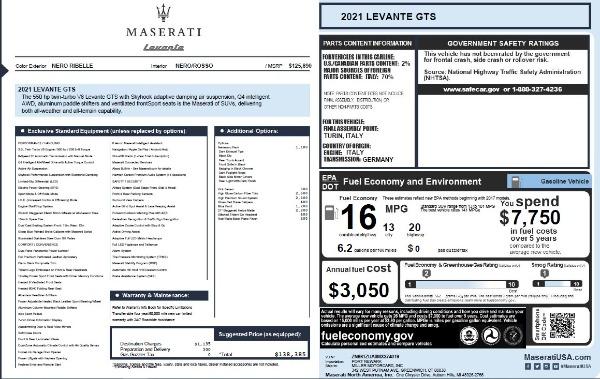 New 2021 Maserati Levante GTS for sale $138,385 at Bugatti of Greenwich in Greenwich CT 06830 25