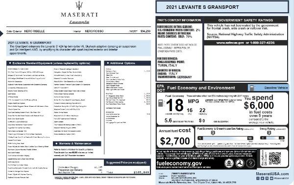 New 2021 Maserati Levante S Q4 GranSport for sale $105,849 at Bugatti of Greenwich in Greenwich CT 06830 2