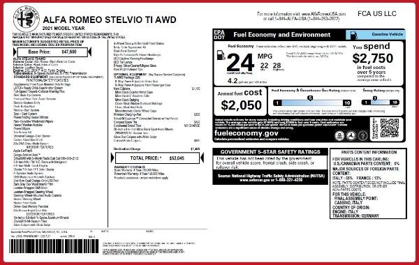 New 2021 Alfa Romeo Stelvio Ti Q4 for sale $52,045 at Bugatti of Greenwich in Greenwich CT 06830 2