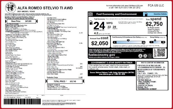 New 2021 Alfa Romeo Stelvio Ti Q4 for sale $53,740 at Bugatti of Greenwich in Greenwich CT 06830 2