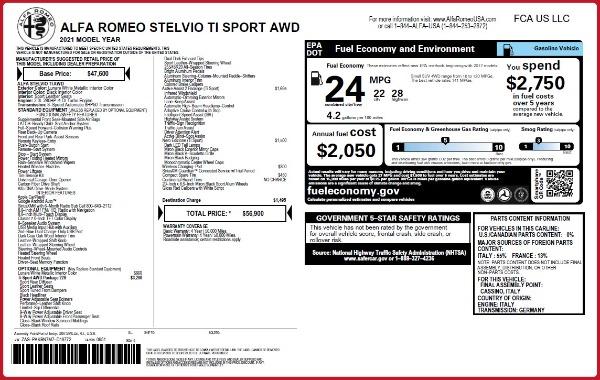 New 2021 Alfa Romeo Stelvio Ti Sport Q4 for sale Sold at Bugatti of Greenwich in Greenwich CT 06830 24