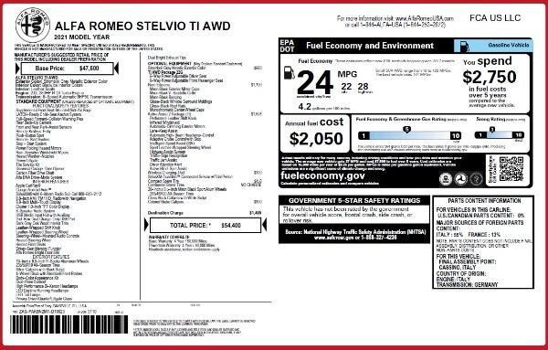 New 2021 Alfa Romeo Stelvio Ti Q4 for sale $54,400 at Bugatti of Greenwich in Greenwich CT 06830 26