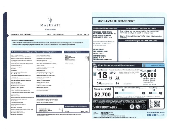 New 2021 Maserati Levante GranSport for sale Call for price at Bugatti of Greenwich in Greenwich CT 06830 23