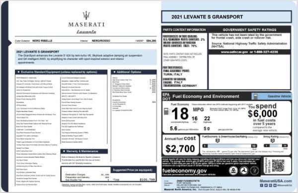 New 2021 Maserati Levante S GranSport for sale $105,799 at Bugatti of Greenwich in Greenwich CT 06830 24