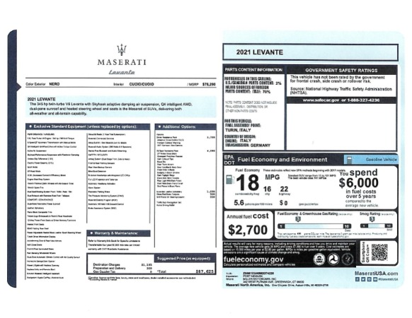 New 2021 Maserati Levante for sale $87,625 at Bugatti of Greenwich in Greenwich CT 06830 2