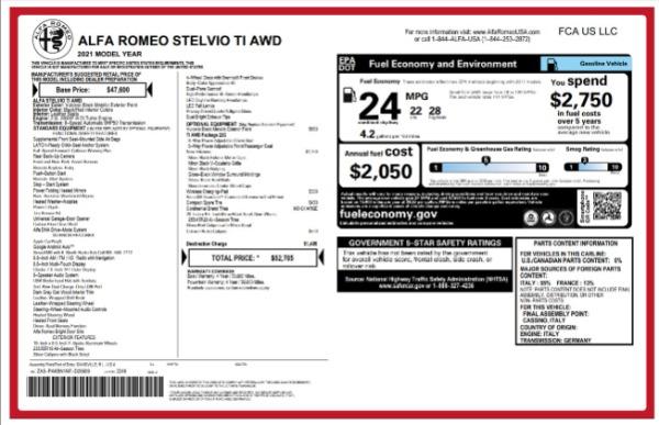 New 2021 Alfa Romeo Stelvio Ti for sale Sold at Bugatti of Greenwich in Greenwich CT 06830 2
