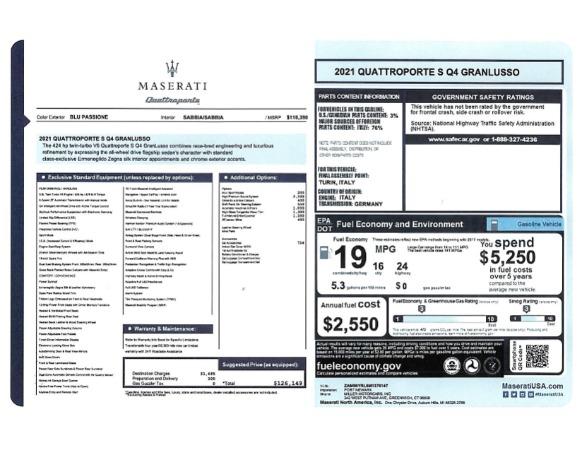 New 2021 Maserati Quattroporte S Q4 GranLusso for sale $126,149 at Bugatti of Greenwich in Greenwich CT 06830 24