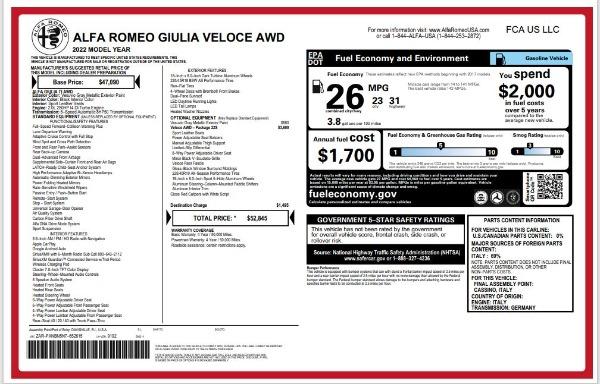 New 2022 Alfa Romeo Giulia Veloce for sale $52,845 at Bugatti of Greenwich in Greenwich CT 06830 24