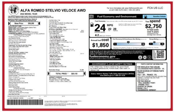 New 2022 Alfa Romeo Stelvio Veloce for sale $55,155 at Bugatti of Greenwich in Greenwich CT 06830 24