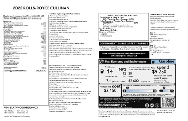 New 2022 Rolls-Royce Cullinan for sale Call for price at Bugatti of Greenwich in Greenwich CT 06830 9