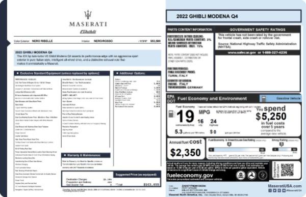 New 2022 Maserati Ghibli Modena Q4 for sale $103,855 at Bugatti of Greenwich in Greenwich CT 06830 19