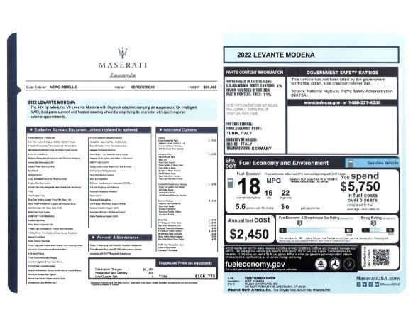 New 2022 Maserati Levante Modena for sale $108,775 at Bugatti of Greenwich in Greenwich CT 06830 24