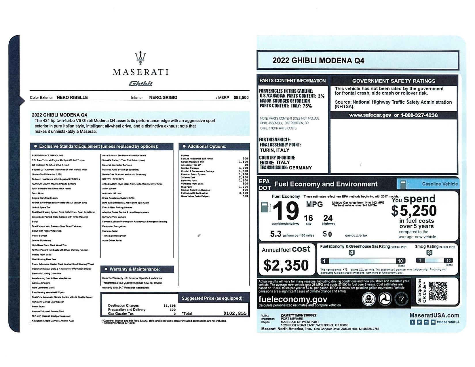 New 2022 Maserati Ghibli Modena Q4 for sale $102,855 at Bugatti of Greenwich in Greenwich CT 06830 1