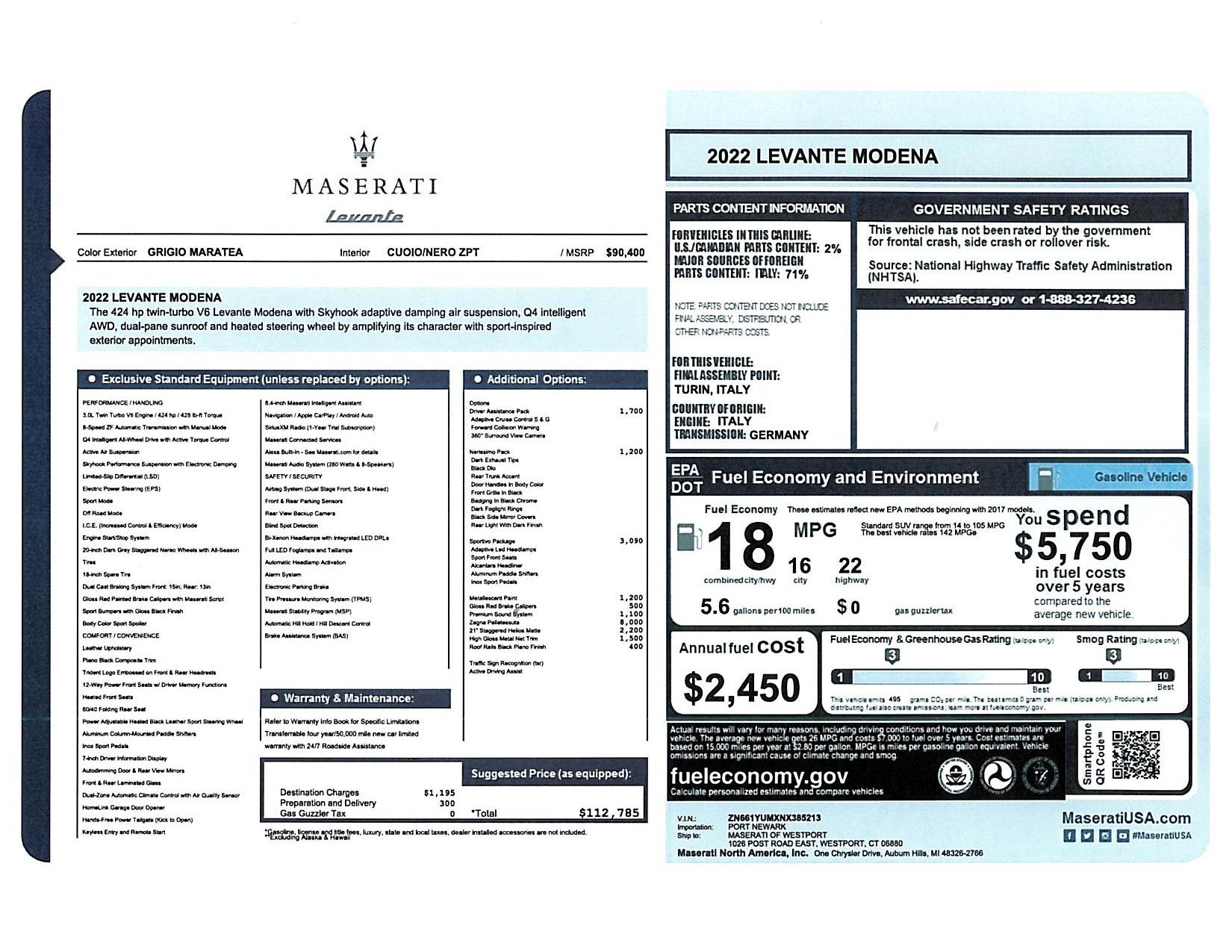 New 2022 Maserati Levante Modena for sale $112,785 at Bugatti of Greenwich in Greenwich CT 06830 1