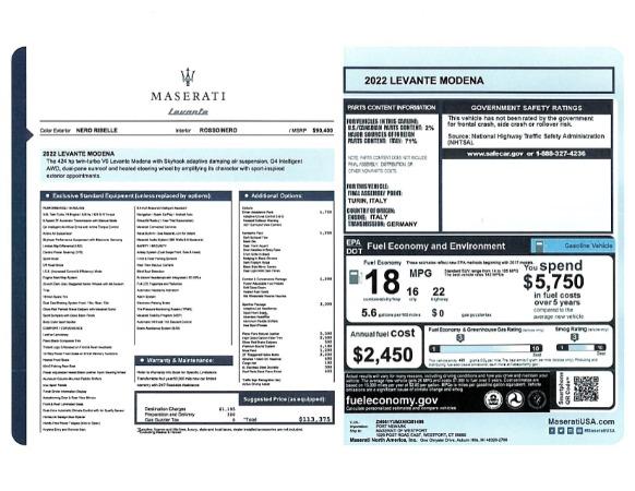 New 2022 Maserati Levante Modena for sale $113,375 at Bugatti of Greenwich in Greenwich CT 06830 20